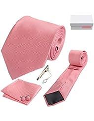 Coffret Cadeau Melbourne - Cravate rose, boutons de manchette, pince à cravate, pochette de costume