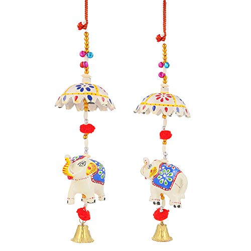 DreamKraft Decorative Set of 2 Elephant with Umbrella Door Hangings Wall Art for Main Door/Living Room Home Decor (48 cm) (White)