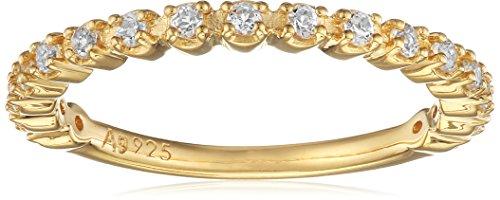 caï Damen-Ring 925 Silber gelb vergoldet Topas weiß Gr. 52 (16.6)