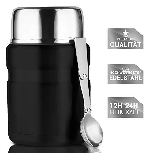 Lacari ® auslaufsicherer Thermobehälter in Schwarz für Essen und Flüssigkeiten - Warmhaltebox mit Löffel - BPA freier Essensbehälter - Isolierbehälter mit 500ml