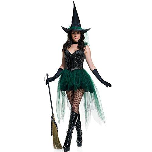FeelinGirl Frauen Charmant Drucken Patterns Hexe Kostüme Cosplay Kleid M (Kostüme Tutu Hexe)