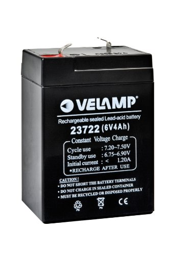 VELAMP 23722 Batteria Ricaricabile Piombo, Attacchi Faston, 6 V, 4 Ah, Nero