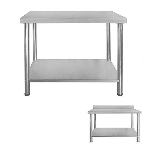 Gastro Edelstahltisch Edelstahl Arbeitstisch Küchentisch Höhenverstellbar mit/ohne Aufkantung Größenwahl V2Aox