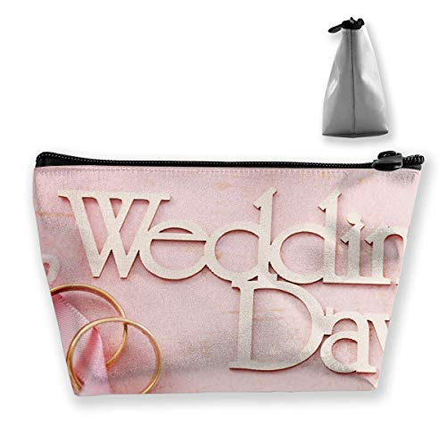 Flowers Wedding Day Ring Womens Travel Cosmetic Bag Portable Toiletry Brush Storage Stylish Pen Pencil Bags Accessories Sewing Kit Pouch Makeup Carry Case (Ring Pink Wedding Womens Sets)