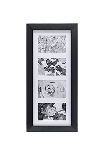 Malden 4x6 4Opening Collage Matted Picture Frame, Displays Four, Black -