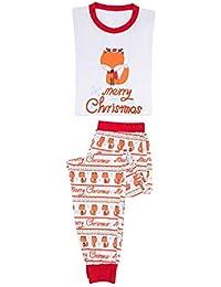 MEIHAOWEI Navidad Pijamas a Juego Familia Mujeres Adultas Mamá Papá Niños Bebé Ropa Dormir Ropa Dormir Pijamas Fox Conjunto Traje Navidad