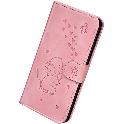 Herbests Kompatibel mit Samsung Galaxy A6 Plus 2018 Hülle Leder Handyhülle 3D Herz Schmetterling Elefant Muster Lederhülle Flip Cover Case Klappbar Bookstyle Brieftasche Ledertasche Schutzhülle,Rosa