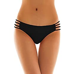 SHEKINI Sexy String Tanga Maillots de Bain Femme Brésilien Bas de Maillot Femme Thong Panty Bikini Bottom Slip de Bain (L/(UK 16-18), Noir)