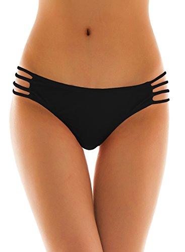 SHEKINI Damen Tanga Bikinihose String Rüschen Sexy Brazilian Bikini Slip Schnüren Höschen (Medium, Schwarz) (Tanga Sexy String)