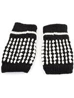 Pair Knit Pattern Elastic Fingerless Gloves for Lady