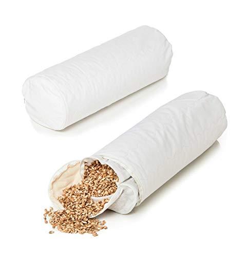 Lumaland Dinkelkissen-Rolle Kissen mit Baumwoll-Bezug Reißverschluss und Dinkelspelz-Füllung in Weiß 40 x 15 cm