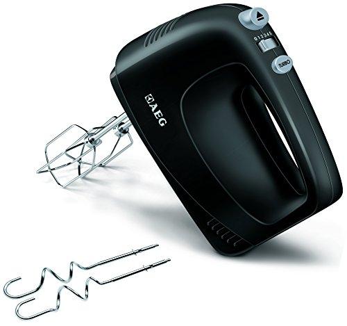 AEG PerfectMix HM 1250 Handrührer Handmixer Set (5 Geschwindigkeitsstufen, Turbo-Stufe für Höchstleistung, Edelstahl-Rührbesen und -Rührer, spülmaschinenfest) Schwarz/Silber