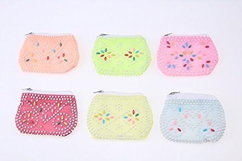 6 x Bead Purse Retro Coin Purse Party Bag Item Retro Design Zip Change Purse