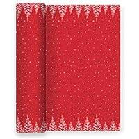 Mantel de Papel con Decorado de Copos de Estrellas y árboles Ideal para Las cenas de Lujo de Navidad, Fiesta de Fin de año o Fiestas Elegantes - Color Rojo - Colección Especial - 1,2 x 5 m