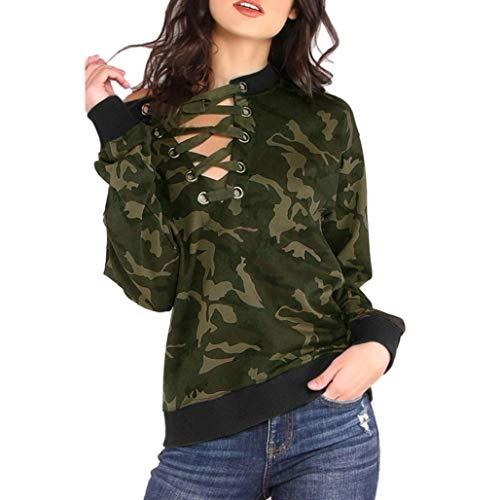 SHOBDW Mode Damen Herbst Camouflage Drucken Top Langarm T-Shirt V-Ausschnitt Bandage Bluse Trendigen Frauen Schnür Tops
