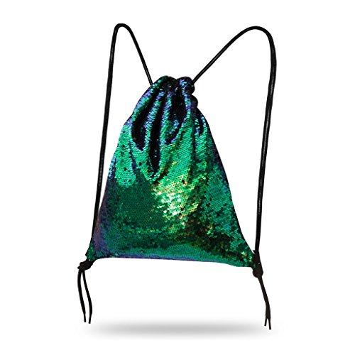 Lady Donovan - Turnbeutel Sportbeutel Tasche Bling Bag Jute-Beutel Glitzer einfarbig Grasgrün
