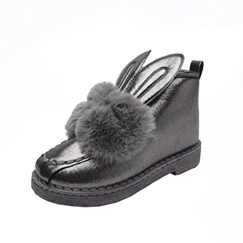 Bottes et boots,Transer® Mère et enfant famille bottes de neige plat cheville mignonne oreilles de lapin fourrure doublé hiver chaud chaussures Gris(Mère)