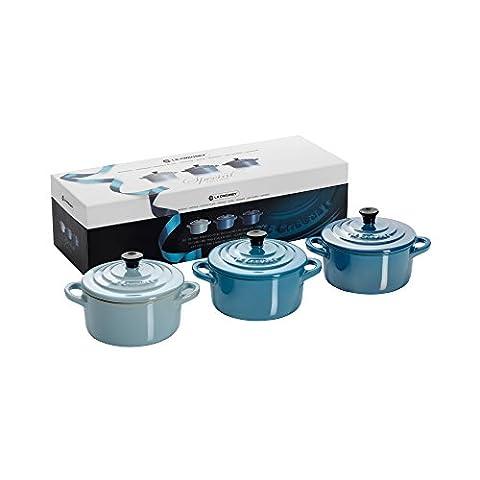 Le Creuset Steinzeug Mini-Cocotte 3er-Set je 200 ml, blau glänzend (Le Cruiset)