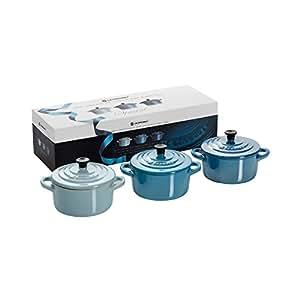 Le Creuset Stoneware Pearlescent Blue Minis Set of 3 Petite Casseroles - 0.25 L