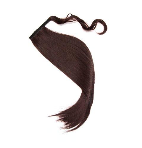 Haarteil in braun Zopf Pferdeschwanz glatt 60 cm zum anklipsen Haarverlängerung Pony lange Haare