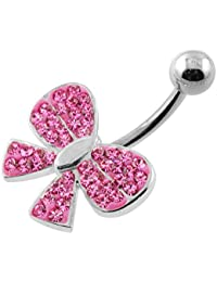 Piercing India Pink Multi Crystal Stone Fancy Ribbon 925 Sterling Silver Belly Ring Body Jewelry