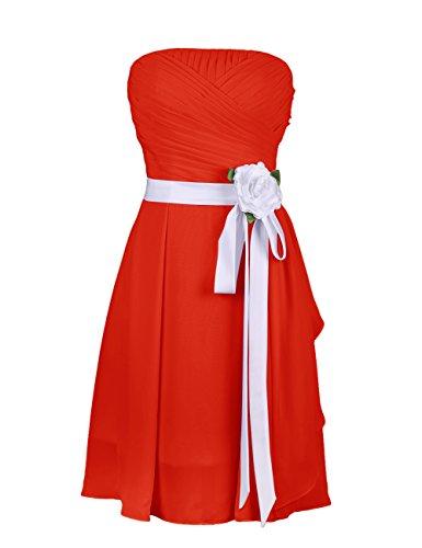 Dressystar Robe femme,Robe de demoiselle d'honneur/soirée, Sans Bretelles, en mousseline Rouge