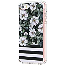 Kkkie Marmor H/ülle kompatibel mit iPhone 5 SE Ultra D/ünn Soft Silikon Bumper Case Transparent Flexible Sto/ßfest Handyh/ülle Blumen-Serie Schutzh/ülle kompatibel iPhone 5c 5s