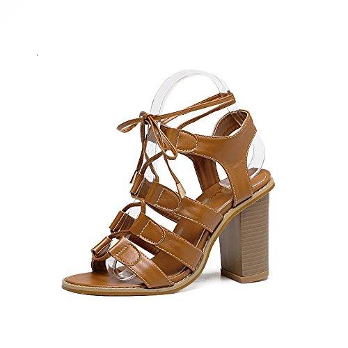 LvYuan-mxx Sandales femme / Printemps Été / Chaussures rétro Rome / Croix cravate / talon chunky / ouvert orteil / Confort Casual / Bureau & Carrière Robe / Talons hauts BROWN-38
