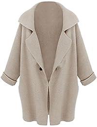 SODIAL(R) Nouveau Femme Manches de Chauve-souris Cardigan en Tricot Lache Casual Chandail Femme Veste Manteau Couleur Gris