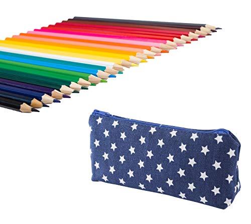 Exerz expc24b 24 pezzi matite colorate in un porta penne - penne a sfera punta fina - colore vivace, grande scorrevolezza, comprende penne lucide, neon,metalliche e neon glitter - blu
