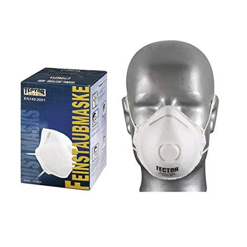 Atemschutzmaske Feinstaubmaske TECTOR 4233 FFP 2 mit Ventil EN 149, P2, 12-480 Stück, weiß, universal