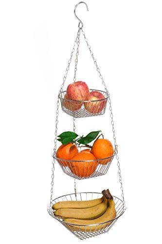 Homdox 3329 Küchenampel Trio - 3 Ablagekörbe, hängend, verchromtes Metall, 28 x 10 x 28 cm, Silber glänzend
