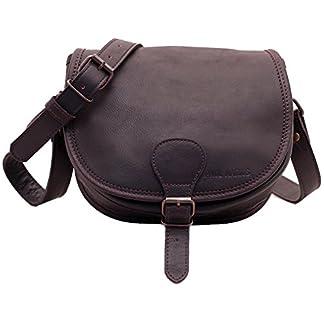 41sdVh9bh8L. SS324  - PAUL MARIUS bolso de cuero arty correa para hombro ajustable marron oscuro LE BOHEMIEN