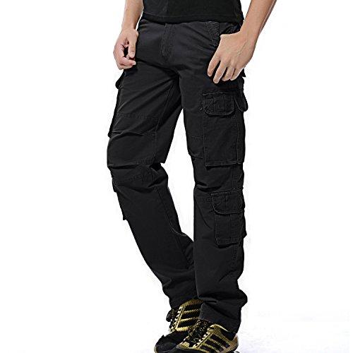"""AYG Herren Cargo Hose Baumwolle Militär Hose Wandern Cargo Pants (Schwarz(Black Nr.25), W42/L33(42"""" Taille/33 Inseam))"""