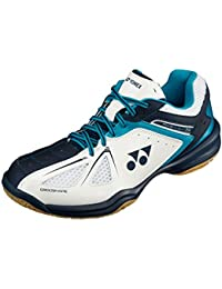 YONEX Power Cushion 34 para hombre bádminton zapatos, Color- White/Blue, Shoe Size- 11 UK