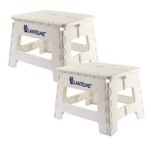 Lantelme 6779 Klapphocker 2 Stück Set in weiß - Universal Hocker aus Kunststoff - Klappbar ALS Kinderhocker - Tritthocker oder auch ALS Sitzhocker