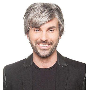 HJL-perruques de haute qualit¨¦ synth¨¦tique courte ligne droite de couleur grise homme , grey