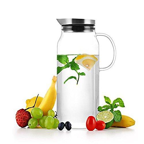 Sama Borosilikatglas Wasserkaraffe, Eistee-Krug, Wasserflasche, Kaffeekanne, Saftkanne mit Edelstahldeckel und Glasgriff, 1.300 ml, LFGB zertifiziert