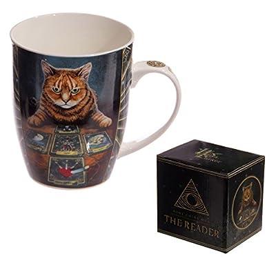 Puckator mulp33by Lisa Parker Cat Design Bone China Mug Red/Grey/Orange