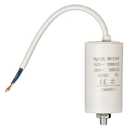 Eurosell 16 uf / 450 V + Premium Kondensator Betriebskondensator Motorkondensator Anlaufkondensator Arbeitskondensator Steckeranschluss mit fest verbautem Kabel Anschluss