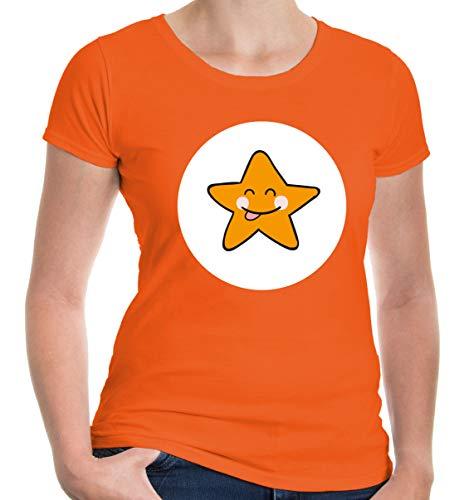 buXsbaum® Damen Girlie T-Shirt Plüschbärchen Stern Kostüm   M, Orange