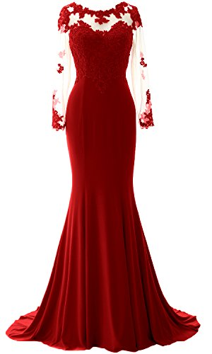 MACloth Women Mermaid Lace Evening Gown Long Sleeves Mother of The Bride Dress (EU38, Burgundy) Ball Gown Scoop Neck