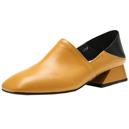 COOLCEPT Femme Classique Couleur Melange A Enfiler Chaussures Mocassin Jaune