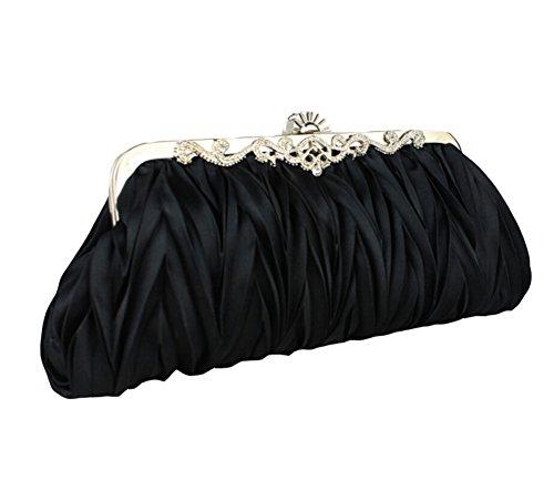 Signore Spalla Portatile Borse da Sposa Damigella D'onore Matrimonio Cena Clutch Nero