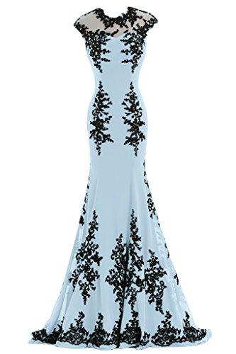 Sunvary Robe de Ceremonie Robe de Bal Robe de Soiree Longue Traine Moyenne Sirene Dentelle Florale Bleu ciel