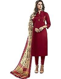 Vasu Saree Red Heavy Jam Cotton With Designer Hand Work Long Stitched Suit