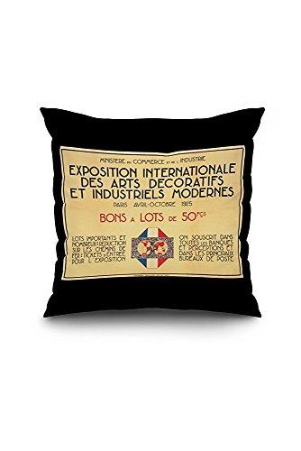 Exposition Internationale des Arts Decoratifs et Industriels Modernes Vintage Poster c. 1925 (18x18 Spun Polyester Pillow Case, Black Border)