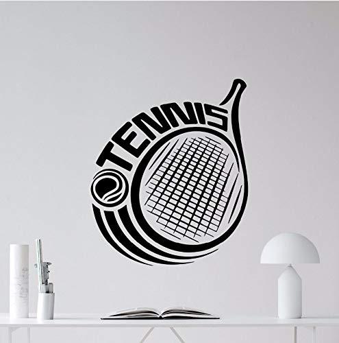 Wuyyii Tennis Wandtattoo Racquet Logo Sport Vinyl Wandaufkleber Removable Tennis Ball Vinyl SportWandtattoosgym Decor Poster57X67Cm