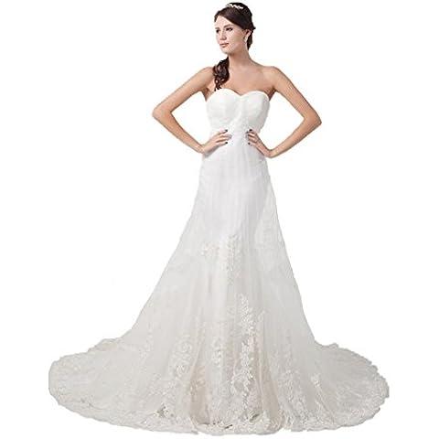 Jspoir Melodiz da donna Slim-line senza spalline abito da sposa in Tulle bianco 40