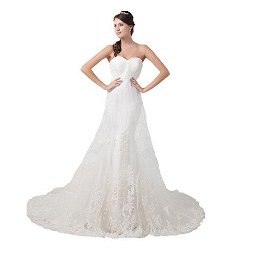 Jspoir Melodiz da donna senza spalline sottile raso tulle abito da sposa White 40